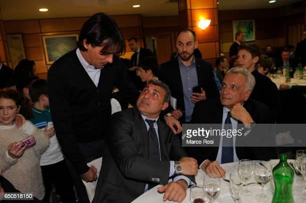 Lazio head coach Simone Inzaghi and SS Lazio Club Manager Angelo Peruzzi during the Meet Lazio Club Quirinale Members on March 9 2017 in Rome Italy