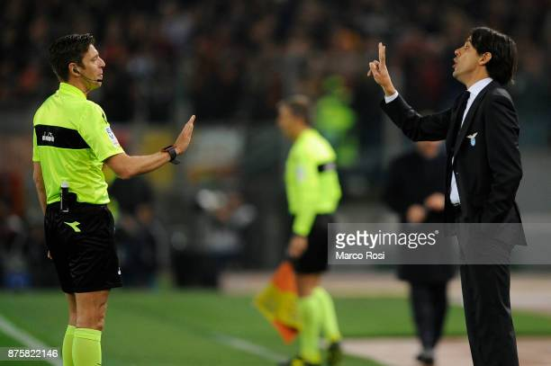 Lazio head coach Simone Inzaghi and the referee Gianluca Rocchi during the Serie A match between AS Roma and SS Lazio at Stadio Olimpico on November...