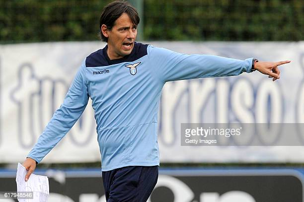 Lazio head coach Simone Inzaghi attend the training session at Formello Sport Center on October 25 2016 in Rome Italy