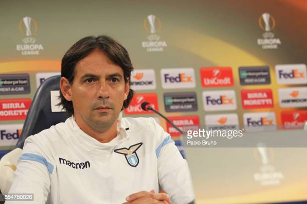 Lazio head coach Simone Inzaghi attends a press conference on September 27 2017 in Rome Italy