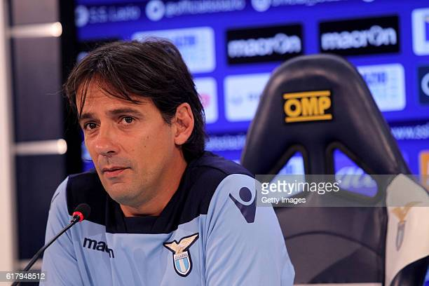 Lazio head coach Simone Inzaghi attends the press conference before the training session at Formello Sport Center October 25 2016 in Rome Italy