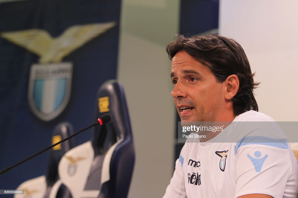 SS Lazio head coach Simone Inzaghi attends the press conference on August 19, 2017 in Rome, Italy.