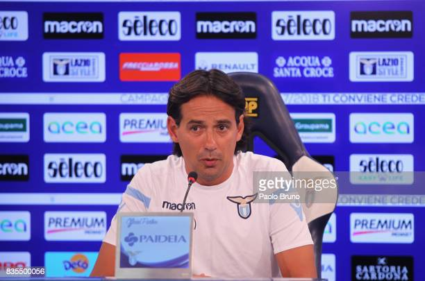 Lazio head coach Simone Inzaghi attends the press conference on August 19 2017 in Rome Italy