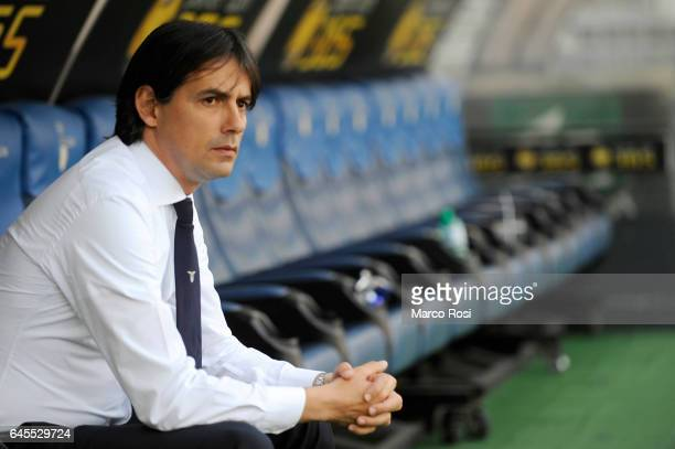 Lazio head coach Simone Inzaghi before the Serie A match between SS Lazio and Udinese Calcio at Stadio Olimpico on February 26 2017 in Rome Italy