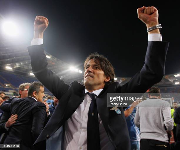 Lazio head coach Simone Inzaghi celebrates after the TIM Cup match between AS Roma and SS Lazio at Stadio Olimpico on April 4 2017 in Rome Italy