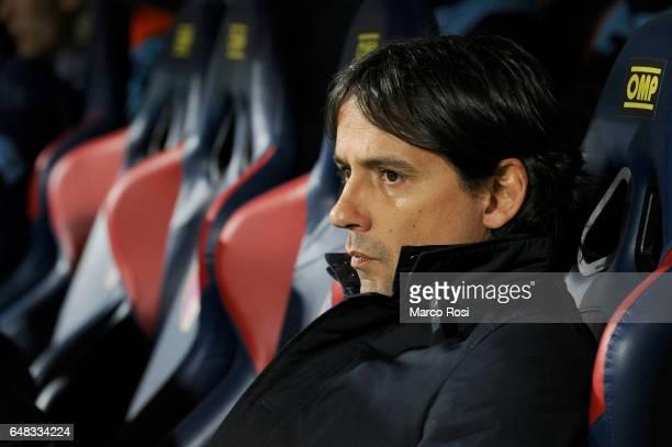 Lazio head coach Simone Inzaghi during the Serie A match between Bologna FC and SS Lazio at Stadio Renato Dall'Ara on March 5 2017 in Bologna Italy