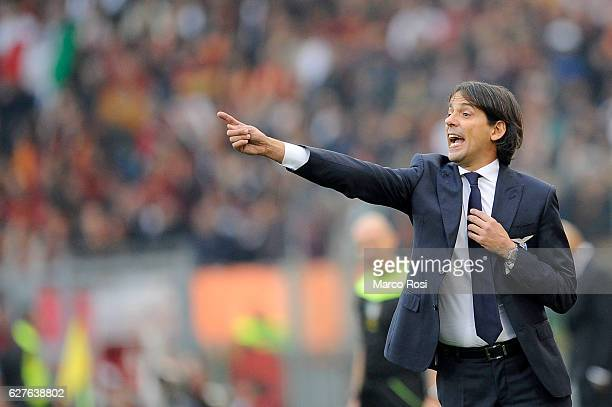 Lazio head coach Simone inzaghi during the Serie A match between SS Lazio and AS Roma at Stadio Olimpico on December 4 2016 in Rome Italy