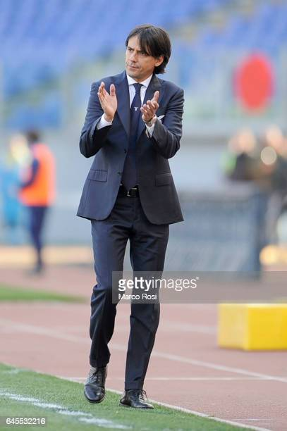 Lazio head coach Simone Inzaghi during the Serie A match between SS Lazio and Udinese Calcio at Stadio Olimpico on February 26 2017 in Rome Italy