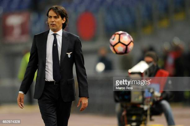 Lazio head coach Simone Inzaghi during the Serie A match between SS Lazio and FC Torino at Stadio Olimpico on March 13 2017 in Rome Italy