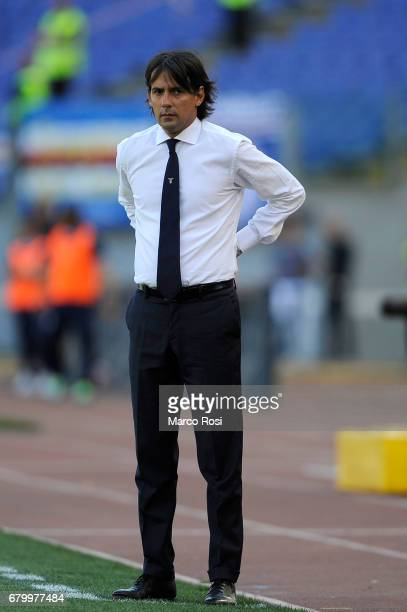Lazio head coach Simone Inzaghi during the Serie A match between SS Lazio and UC Sampdoria at Stadio Olimpico on May 7 2017 in Rome Italy