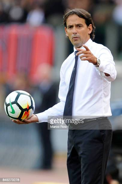 Lazio head coach Simone Inzaghi during the Serie A match between SS Lazio and AC Milan at Stadio Olimpico on September 10 2017 in Rome Italy