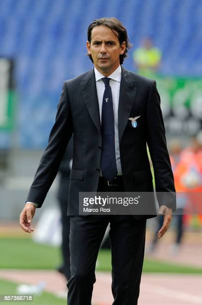 Lazio head coach Simone Inzaghi during the Serie A match between SS Lazio and US Sassuolo at Stadio Olimpico on October 1 2017 in Rome Italy