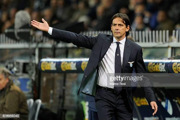 Lazio head coach Simone inzaghi during the Serie A match between UC Sampdoria and SS Lazio at Stadio Luigi Ferraris on December 10 2016 in Genoa Italy