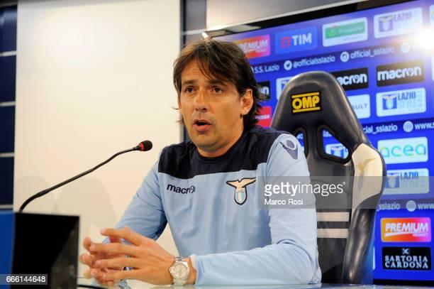 Lazio head coach Simone Inzaghi during the SS Lazio press conferenca at the Formello Center on April 8 2017 in Rome Italy