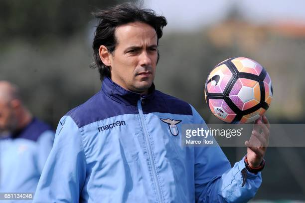 Lazio head coach Simone Inzaghi during the SS Lazio Training Session at the Formello Center in Rome on March 10 2017 in Rome Italy