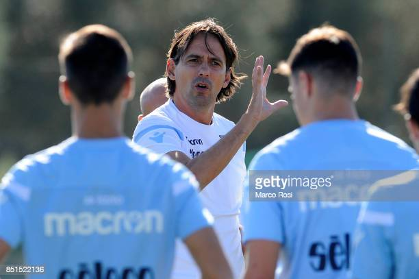 Lazio head coach Simone Inzaghi during the SS Lazio training session on September 22 2017 in Rome Italy