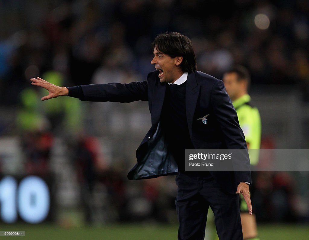 SS Lazio head coach Simone Inzaghi gestures during the Serie A match between SS Lazio and FC Internazionale Milano at Stadio Olimpico on May 1, 2016 in Rome, Italy.