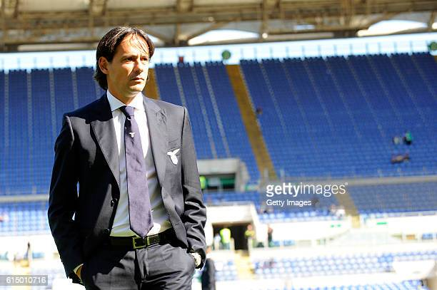 Lazio head coach Simone Inzaghi looks on before the Serie A match between SS Lazio and Bologna FC at Stadio Olimpico on October 16 2016 in Rome Italy