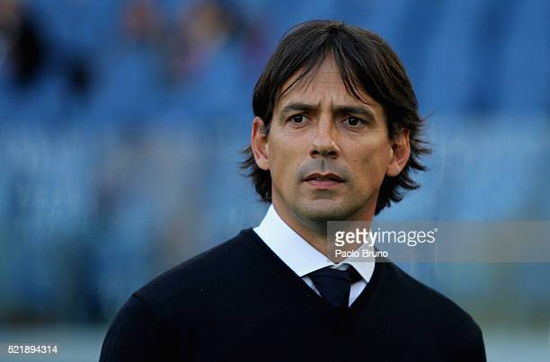 Lazio head coach Simone Inzaghi looks on during the Serie A match between SS Lazio and Empoli FC at Stadio Olimpico on April 17 2016 in Rome Italy