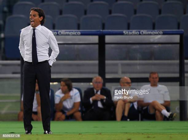 Lazio head coach Simone Inzaghi looks on during the Serie A match between SS Lazio and Spal at Olimpico Stadium on August 20 2017 in Rome Italy