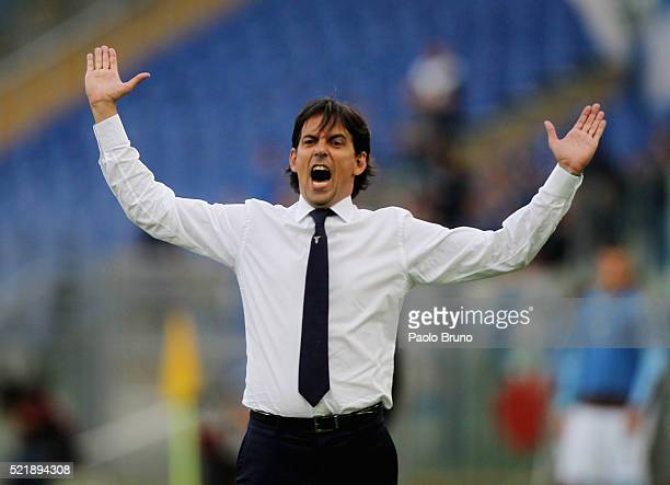 Lazio head coach Simone Inzaghi reacts during the Serie A match between SS Lazio and Empoli FC at Stadio Olimpico on April 17 2016 in Rome Italy