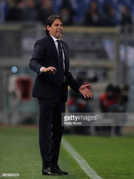 Lazio head coach Simone Inzaghi reacts during the Serie A match between SS Lazio and FC Torino at Stadio Olimpico on March 13 2017 in Rome Italy