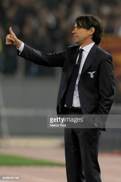 Lazio head coach Simone Inzaghi reacts during the TIM Cup match between SS Lazio and AS Roma at Olimpico Stadium on March 1 2017 in Rome Italy