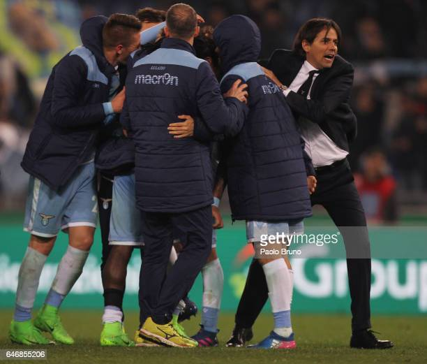 Lazio head coach Simone Inzaghi with his players celebrates the victory after the TIM Cup match between SS Lazio and AS Roma at Olimpico Stadium on...