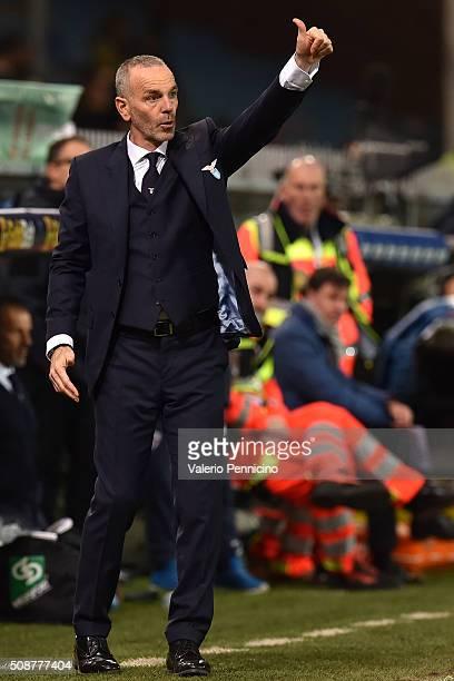 Lazio head coach Stefano Pioli gestures during the Serie A match between Genoa CFC and SS Lazio at Stadio Luigi Ferraris on February 6 2016 in Genoa...