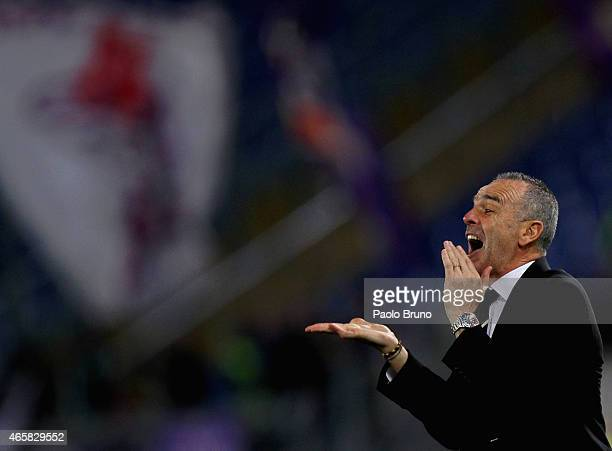 Lazio head coach Stefano Pioli gestures during the Serie A match between SS Lazio and ACF Fiorentina at Stadio Olimpico on March 9 2015 in Rome Italy