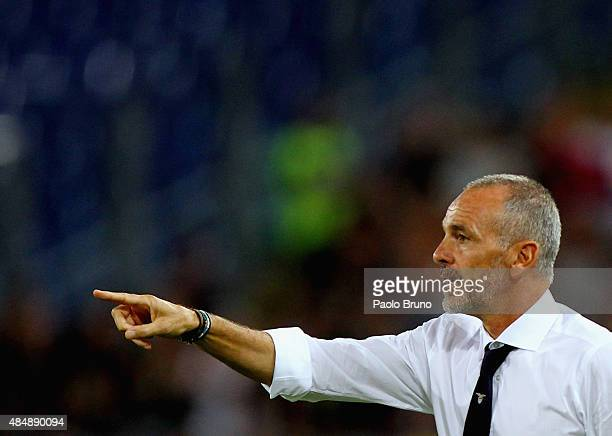 Lazio head coach Stefano Pioli gestures during the Serie A match between SS Lazio and Bologna FC at Stadio Olimpico on August 22 2015 in Rome Italy