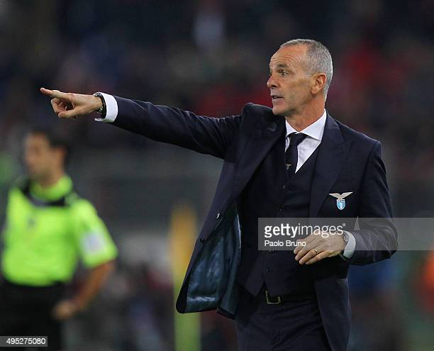 Lazio head coach Stefano Pioli gestures during the Serie A match between SS Lazio and AC Milan at Stadio Olimpico on November 1 2015 in Rome Italy