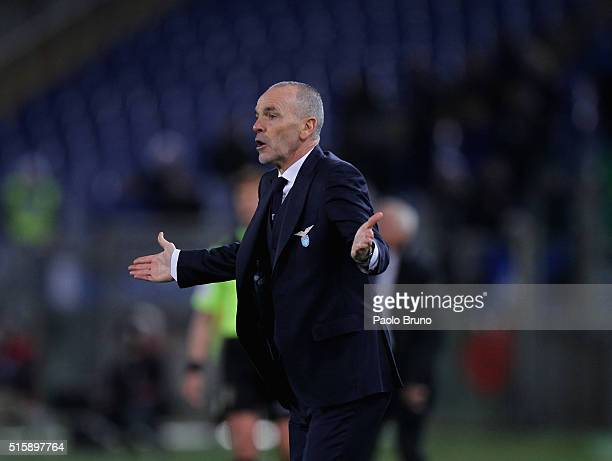 Lazio head coach Stefano Pioli gestures during the Serie A match between SS Lazio and Atalanta BC at Stadio Olimpico on March 13 2016 in Rome Italy