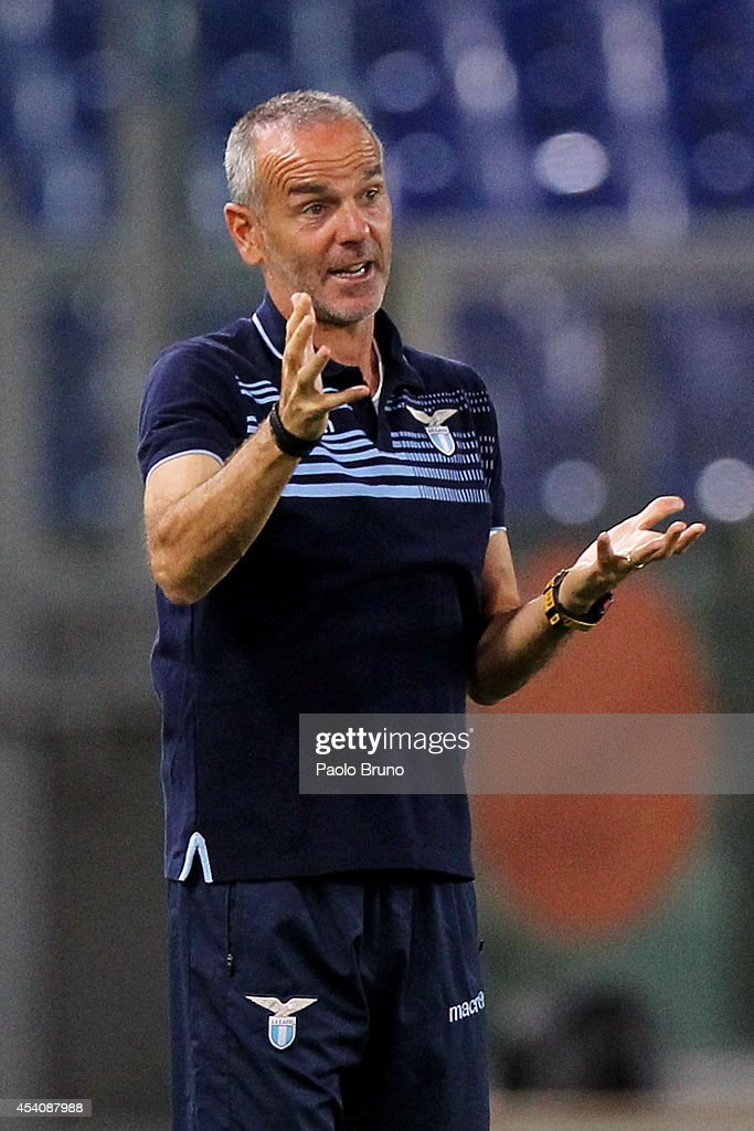 SS Lazio head coach Stefano Pioli gestures during the TIM Cup match between SS Lazio and Bassano FC at Olimpico Stadium on August 24, 2014 in Rome, Italy.
