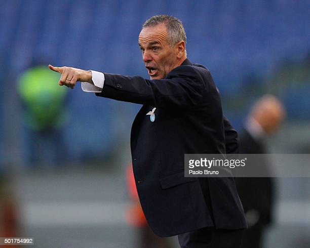 Lazio head coach Stefano Pioli gestures during the TIM Cup match between SS Lazio and Udinese Calcio at Stadio Olimpico on December 17 2015 in Rome...