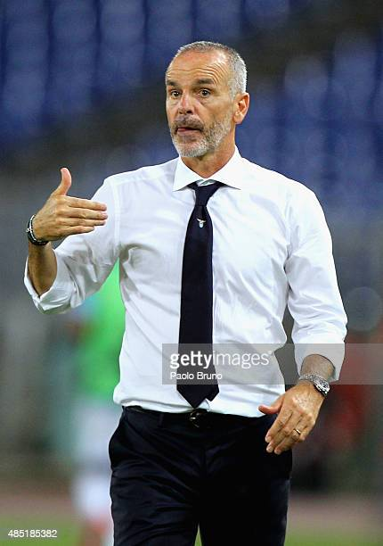 Lazio head coach Stefano Pioli gestures during the UEFA Champions League qualifying round play off first leg match between SS Lazio and Bayer...