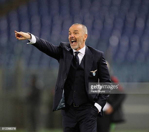 Lazio head coach Stefano Pioli gestures during the UEFA Europa League Round of 32 second leg match between Lazio and Galatasaray on February 25 2016...