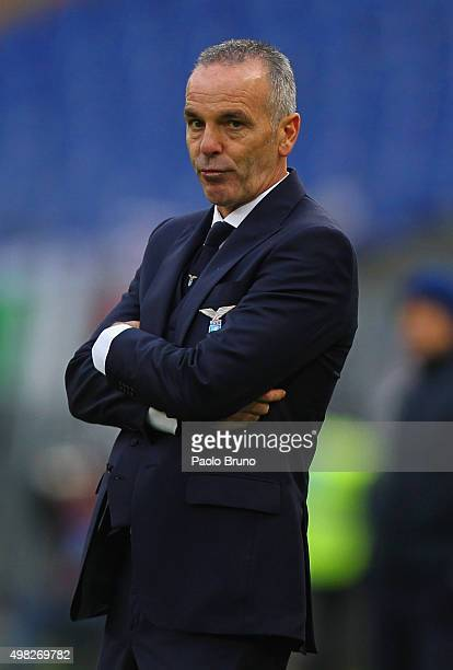 Lazio head coach Stefano Pioli looks on during the Serie A match between SS Lazio and US Citta di Palermo at Stadio Olimpico on November 22 2015 in...
