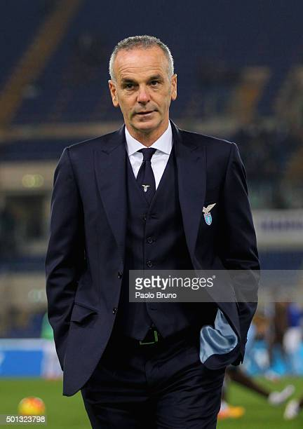 Lazio head coach Stefano Pioli looks on during the Serie A match betweeen SS Lazio and UC Sampdoria at Stadio Olimpico on December 14 2015 in Rome...