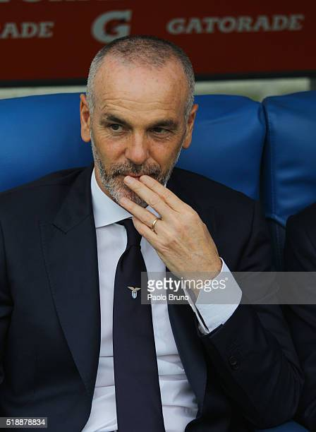 Lazio head coach Stefano Pioli looks on during the Serie A match between SS Lazio and AS Roma at Stadio Olimpico on April 3 2016 in Rome Italy