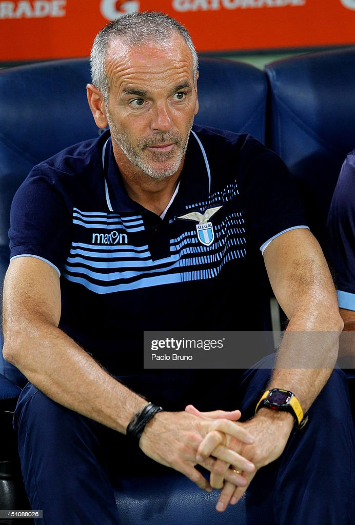 SS Lazio head coach Stefano Pioli looks on during the TIM Cup match between SS Lazio and Bassano FC at Olimpico Stadium on August 24, 2014 in Rome, Italy.