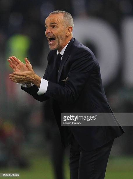 Lazio head coach Stefano Pioli reacts during the Serie A match between SS Lazio and Juventus FC at Stadio Olimpico on December 4 2015 in Rome Italy