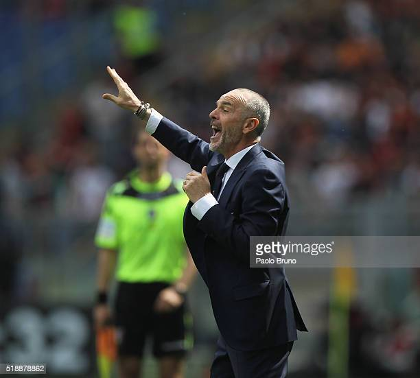 Lazio head coach Stefano Pioli reacts during the Serie A match between SS Lazio and AS Roma at Stadio Olimpico on April 3 2016 in Rome Italy