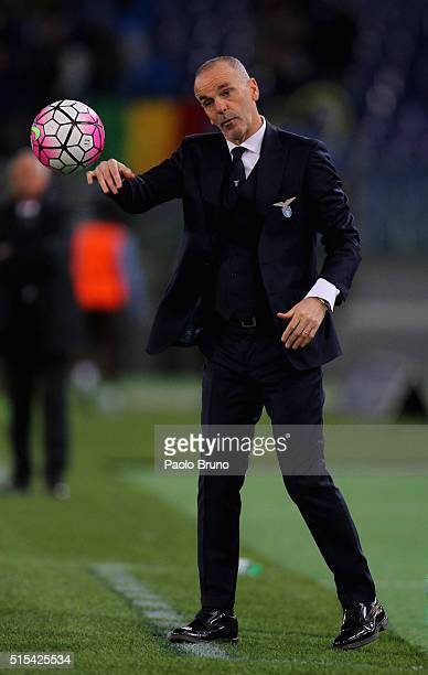 Lazio head coach Stefano Pioli throws the ball during the Serie A match between SS Lazio and Atalanta BC at Stadio Olimpico on March 13 2016 in Rome...