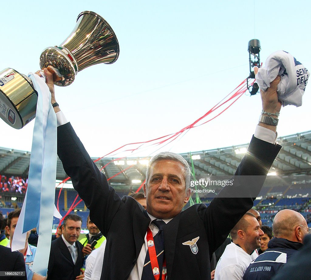 Lazio head coach Vladimir Petkovic celebrates with the trophy after winning the Tim cup final against AS Roma at Stadio Olimpico on May 26, 2013 in Rome, Italy.