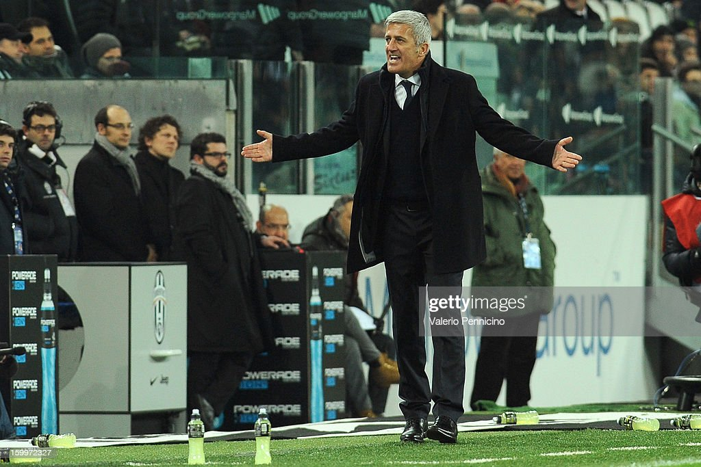 S.S. Lazio head coach Vladimir Petkovic reacts during the TIM cup match between Juventus FC and S.S. Lazio at Juventus Arena on January 22, 2013 in Turin, Italy.