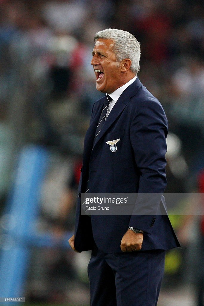 SS Lazio head coach Vladimir Petkovic reacts during the TIM Supercup match between SS Lazio and FC Juventus at Olimpico Stadium on August 18, 2013 in Rome, Italy.
