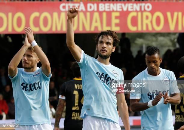 Lazio' Italian midfielder Marco Parolo celebrates after scoring during the Italian Serie a football match Benevento Calcio vs SS Lazio on october 29...