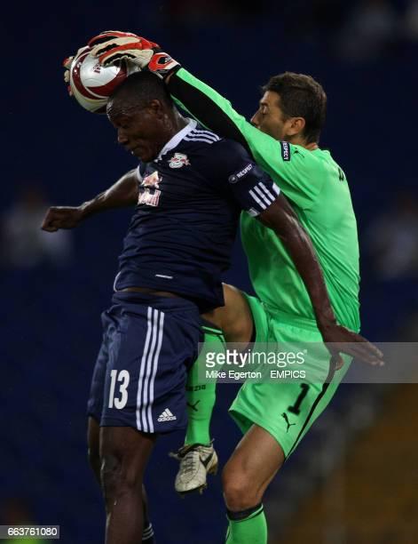 Lazio keeper Albano Bizzarri and FC Salzburg Somen Tchoyi