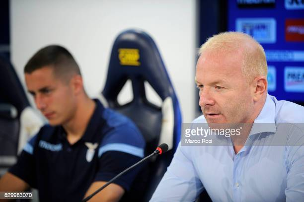Lazio Manager Igli Tare and Adam Marusic of SS Lazio during the as SS Lazio unveils new players Felipe Caidedo and Adam Marusic on August 11 2017 in...